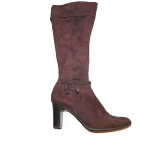 Prediction Faux Suede Knee High Heeled Boots